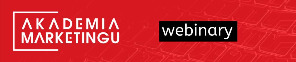 Baner akademia marketingu logo na czerwonym tle