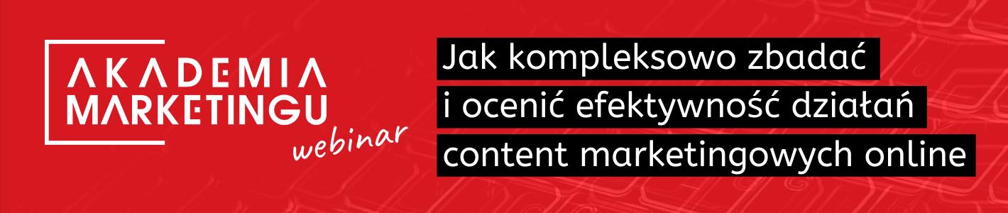 Banerbaner-akademia-marketing-jak- kompleksowo-zbadac-i-ocenic-efektywnosc-działan-content-marketingowych-online-na-czerwonym-tle